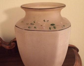 Vintage Hand Painted Vase en verre givré rose
