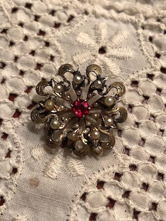 Vintage Antique Ornate Victorian Seed Pearl Garne… - image 2