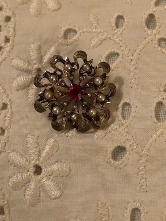 Vintage Antique Ornate Victorian Seed Pearl Garne… - image 3