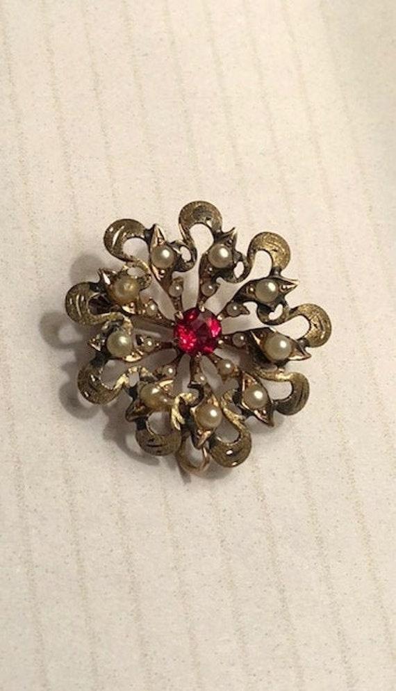 Vintage Antique Ornate Victorian Seed Pearl Garnet