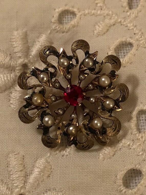 Vintage Antique Ornate Victorian Seed Pearl Garne… - image 4