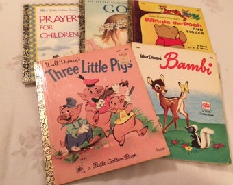 Collection of Five 1960's and 1970's Vintage Little Golden Books Walt Disney Bambi, Three Little Pigs, Winnie the Pooh, God and Prayers