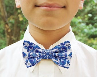 Bow tie for kids blue majolica pattern, tie children, ceremony page, blue accessories for baby and newborn, baby, baby boy, sicily style