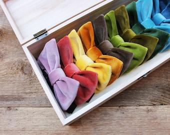 Velvet Bow ties for men's,bow tie velvet red,midnight blue,black,rose,burgundy,gift for men,groomsmen gift,trends 2019 wedding winter groom