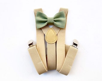 Sage bow tie and suspenders for baby boy,baby bow ties for pageboy,beige suspenders for wedding,baptism dress,green tie pageboy suspenders