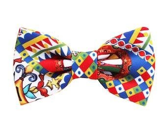 Sicily Bow Tie for men,Sicily inspiration,tie for groom and groomsmen gift,italian wedding inspiration,sicilian style majolica,folk style