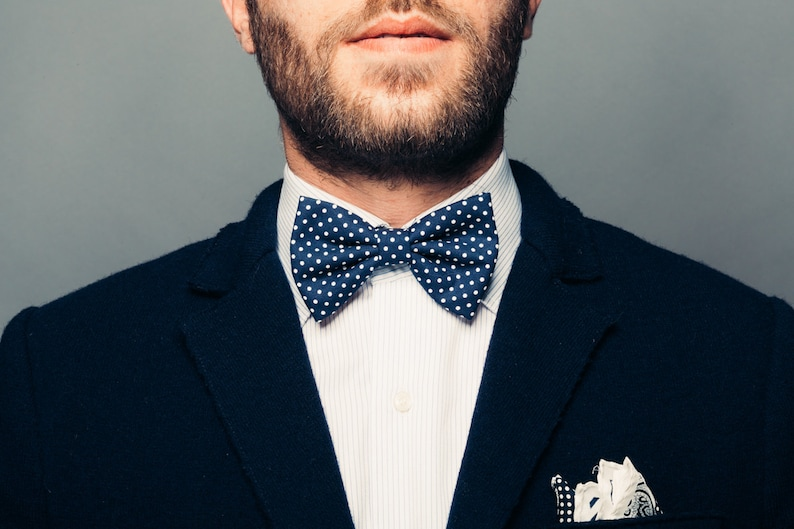 1b7b10fd24c Bow ties for men blue and white polka dotsbow ties for