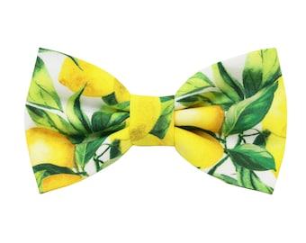 Lemon pattern bow tie for men,yellow bow tie for grooms,shabby chic wedding,groomsmen gift,summer spring wedding inspiration 2019,botanical