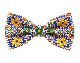 Bow tie for man Sicily style colorful,sicily inspiration accessories,gift idea for men,majolica pattern bowtie for groom style wedding 2020