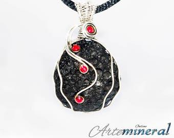 Lava Stone Citrine pendant in silver thread 925