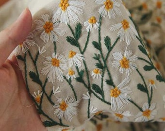 ON SALE, Retro style cotton linen fabric, embroided daisy fabric, by the yard