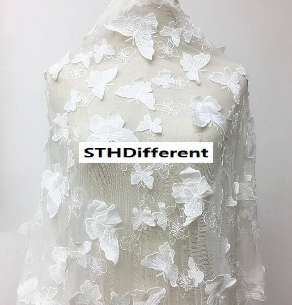 Papillon blanc maille maille maille dentelle broderie dentelle tissu rideaux tissu robe de mariée par l'yard-(hongs) - environ 59