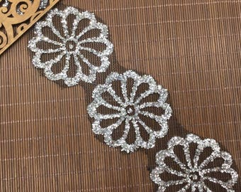 2 yards, Silver flower lace trim mesh with snowflake style for wedding -fu- 7 cm wide/2.75""