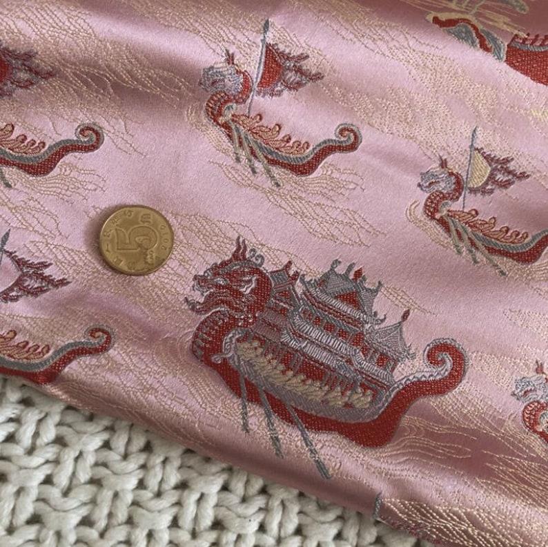 jacquard fabric Pink color brocade fabric for cheongsam by the yard dragon style fabric silk brocade fabric