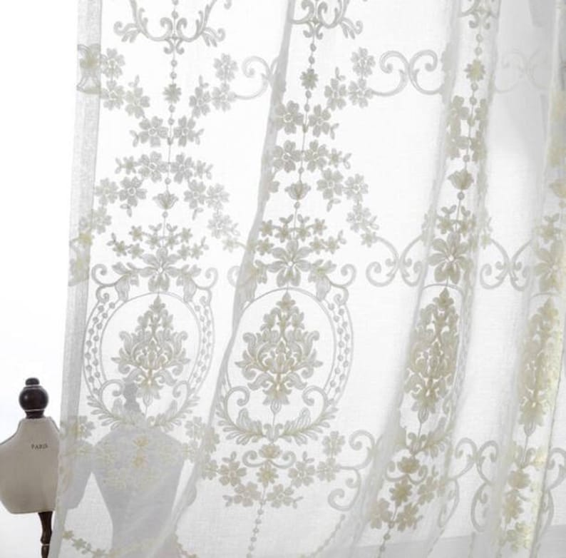 lace fabric window gauze fabric for curtains Cream-white color yarn embroidery fabric
