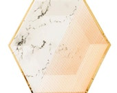 Geometrical Blush Plate with a Carrara Marble Background, Blush Lines, and Gold Trim (Set of 8) 7 quot . Disposable Eco-friendly Paper Plates