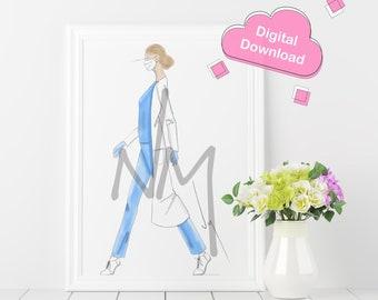Hospital Worker Illustration Digital Download - Home Decor - Instant Download Fashion Illustration