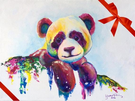 colorful panda modern acrylic painting on canvas etsy