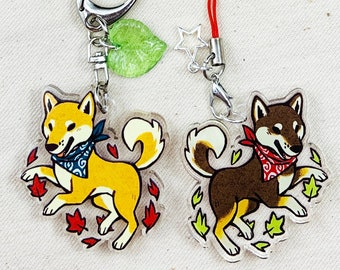 """Shiba Inu 1.5"""" Double-Sided  Acrylic Charm - Keychain or Cell Phone Strap"""