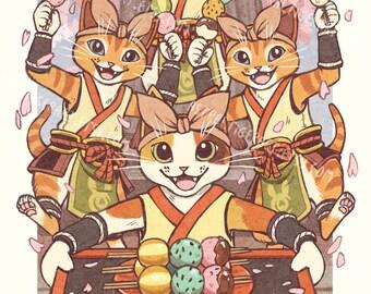 "Fluffy Bunny Dango! - 11x17"" Print - Monster Hunter Rise Palico Fan Art"