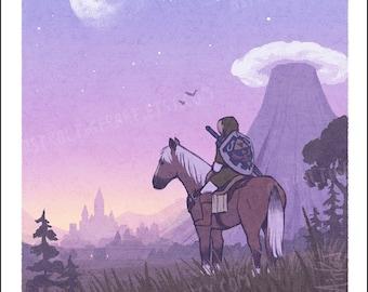 """Hyrule Field - 11x17"""" Poster Print - Legend of Zelda Ocarina of Time Fan Art"""