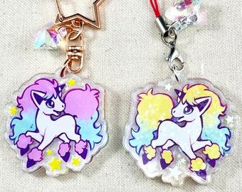 """Galarian Ponyta - Pokemon 1.5"""" Double-Sided Holographic Acrylic Charm - Keychain or Cell Phone Strap"""