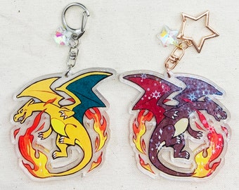 "Charizard - Pokemon 2.5"" Holographic Double-Sided Acrylic Charm Keychain"