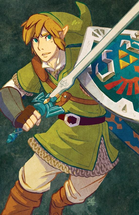 The Legend Of Zelda Skyward Sword Link Fan Art Print 11x17