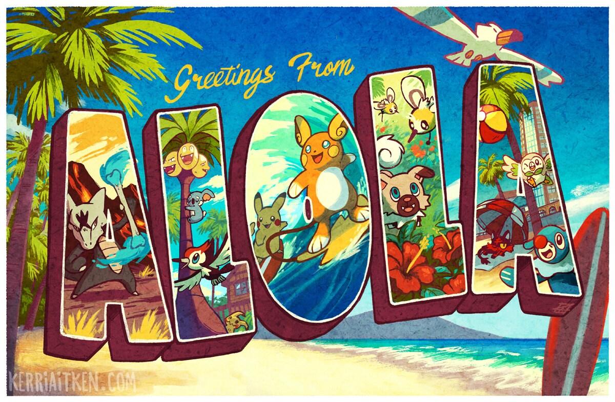 Greetings From Alola Print Pokemon Sun And Moon Fan Art Etsy