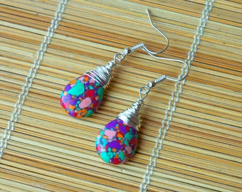 Eye Catching Wire Wrapped Rainbow Calsilica Briolette Bead Earrings