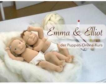 """Online-Puppen-Kurs """"Emma & Elliot"""" - nähe deine eigene Puppe mit modelliertem Gesicht"""