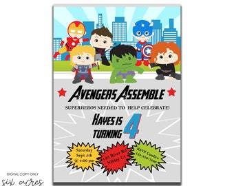 Avengers Assemble!! Super Hero birthday party invitation! All Avengers characters! All things boy! Digital Copy Only!