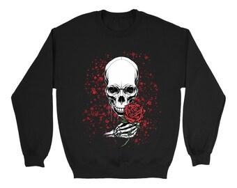 Skull Skeleton With Rose Halloween Sweatshirt