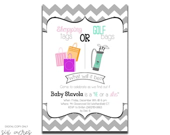 Gender Reveal Party Invitation! Shopping Tags or Golf Bags! Digital Copy Only!