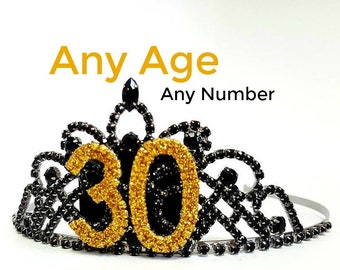 Woman Birthday Custom Crown Any Number That U Need Adult Party Hat 30th 40th Black Gold