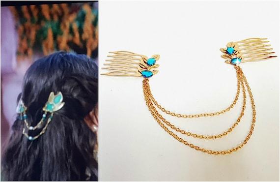 Jasmine Aladdin Gold Leaf Hair Chain Jasmine Aladdin Hair Etsy