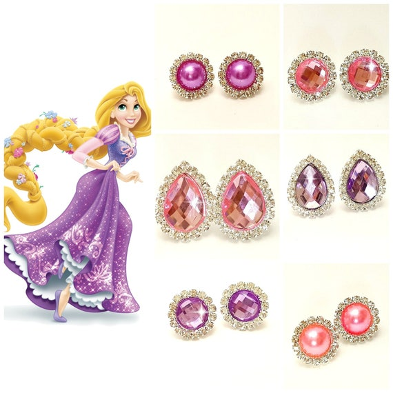 Rapunzel Princess Earrings Clip On Earrings Purple Pink Etsy