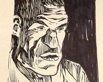 Rondo Hatton B-Movie 'Hoxton Creeper' original ink portrait drawing
