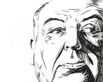Alfred Hitchcock portrait original ink drawing