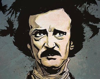 Edgar Allan Poe & A Murder of Crows - A4 colour art print