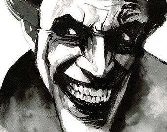 The Man Who Laughs (Conrad Veidt) portrait original ink drawing