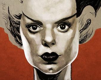 The Bride of Frankenstein movie poster full colour art print