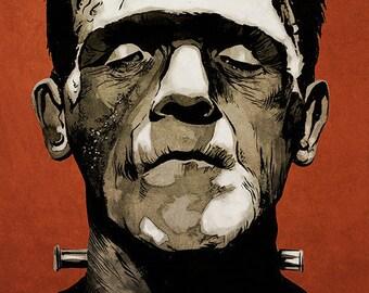 Frankenstein movie poster full colour art print