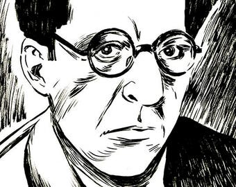 BARTON FINK (John Tuturro) Coen Brothers portrait original ink sketch