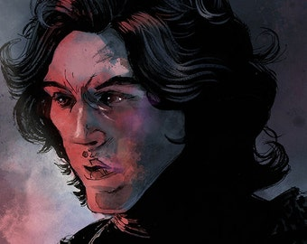 Star Wars - The Force Awakens- Kylo Ren A4 colour art print
