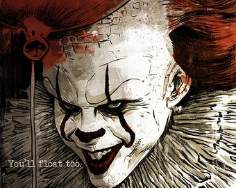 Stephen King's IT Pennywise The Clown horror movie poster full colour art print