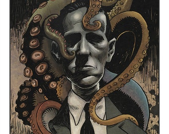 "Lovecraft & Friends - 10"" x 8"" colour art print"