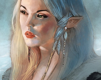 Female Elf Character Portrait (Dungeons & Dragons, WOTC, Pathfinder, fantasy) - colour art print