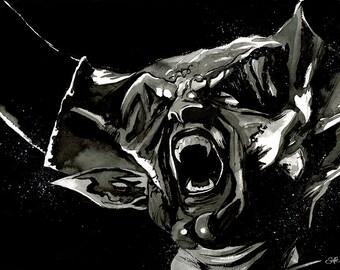LEGEND - 'Darkness' A3 original ink drawing