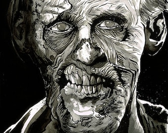 Zombie A3 original ink drawing